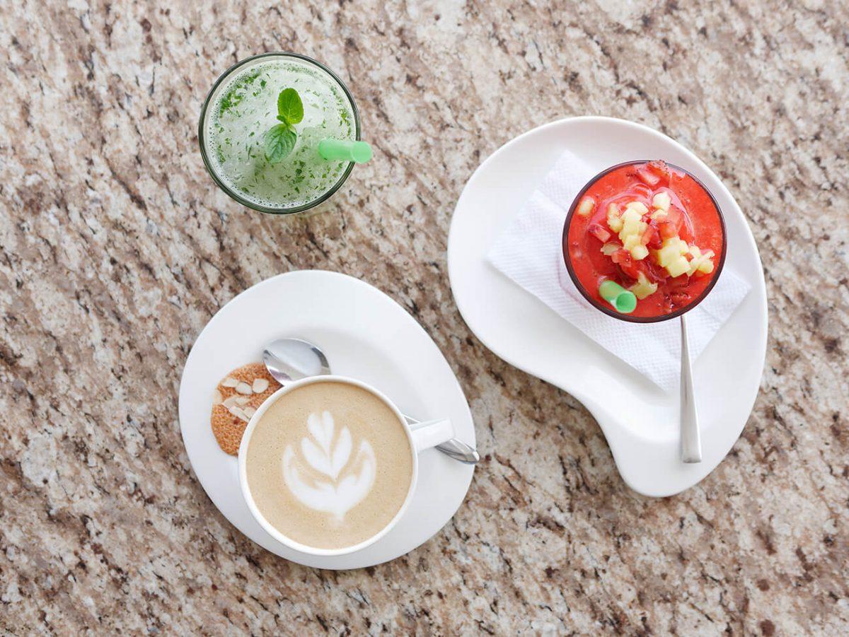 Las bebidas: Capucchino, Squash y Limonada con hierbabuena